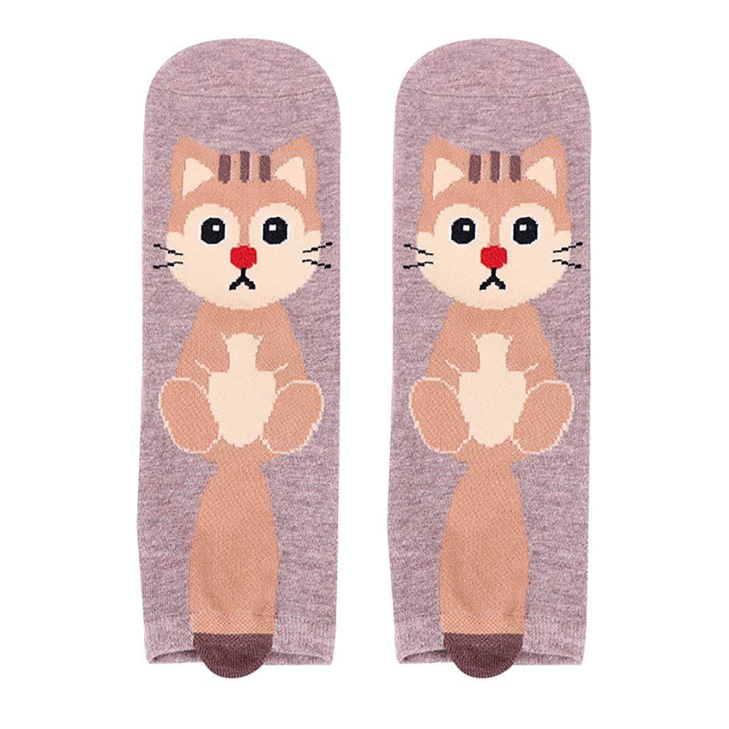 Fine Animal Print Cartoon Socks Women Man Cotton Socks Animal Art Animation Character Dress Sock (Coffee)
