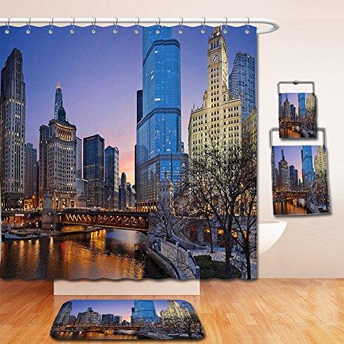 Nalahome Bath Suit: Showercurtain Bathrug Bathtowel Handtowel Landscape Usa Chicago Cityscape with Rivers Bridge and Skyscrapers Cosmopolitan City Image Multicolor Cosmopolitan Cotton Shower Curtain