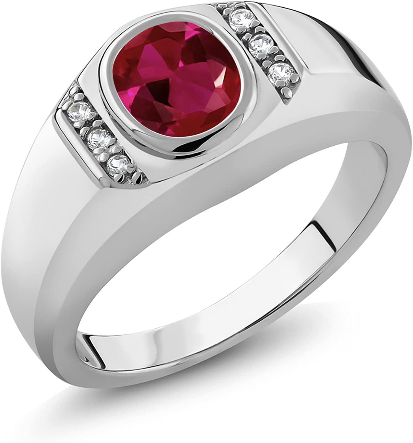 Gem Stone King Men's 925 Sterling Silver Red Created Ruby and White Created Sapphire Ring (1.21 Ct)
