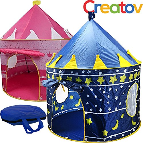 Kids Tent Toy Prince Playhouse - Toddler Play House Blue Castle for Kid Children Boys Girls Baby for Indoor & Outdoor Toys Foldable Playhouses Tents with Carry Case Great Birthday Gift Idea by Creatov from Creatov design