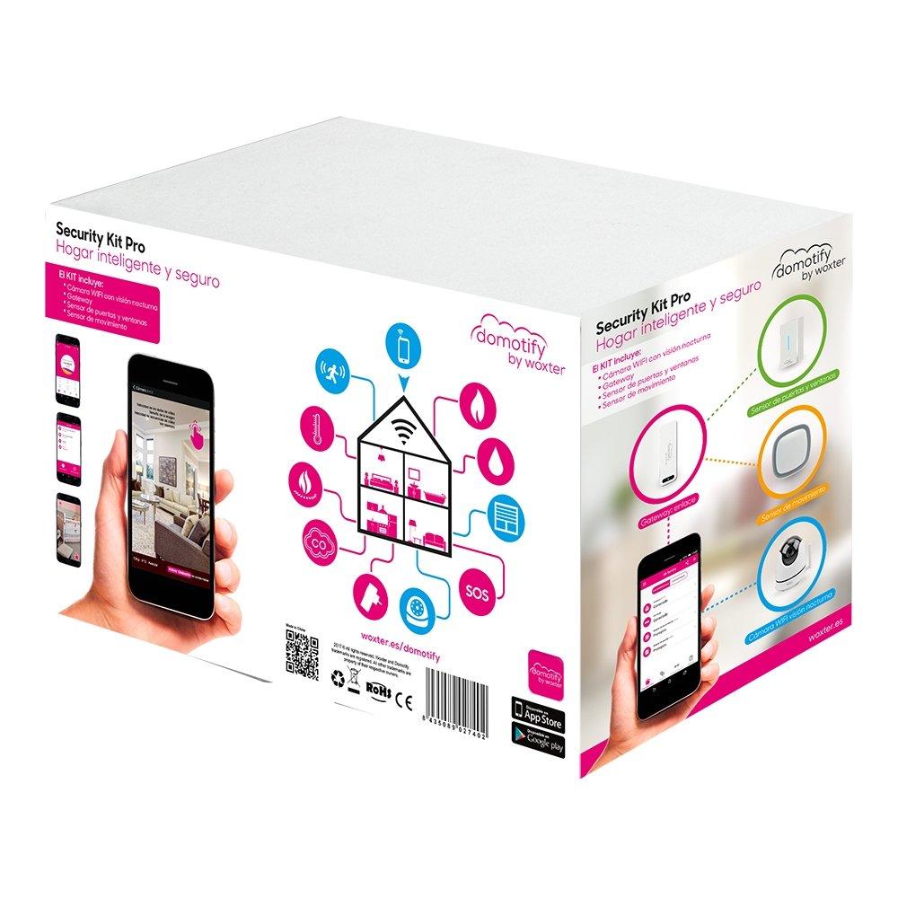 Domotify Security Kit PRO- Kit de Seguridad compuesto por dispositivos de domótica inalámbrica (Cámara Wi-Fi con visión nocturna, Gateway, Sensor de Puertas ...