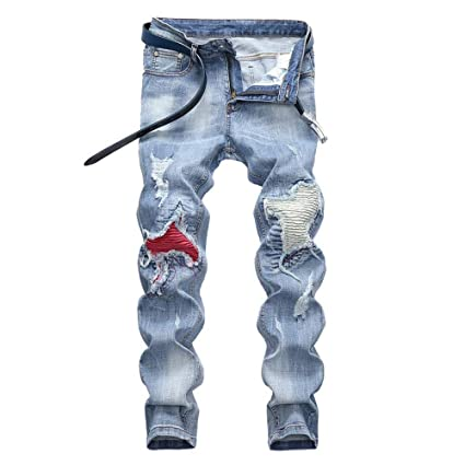 Weentop Pantalones Vaqueros Desgastados Desgastados de Riker ...