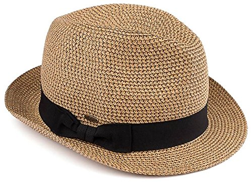 H-6108-32107 Fedora Sun Hat - Brown w/ Black Band]()