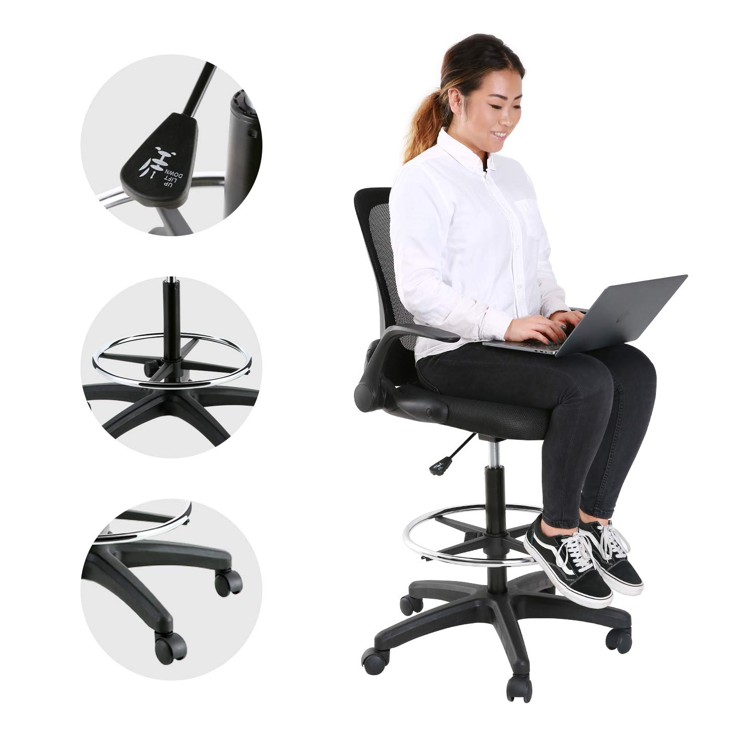 YOUNIS Drafting Chair with Black Fabric Seat, Adjustable Armrest and Foot Ring, Black Breathable mesh backrest, Reception Desk Chair, Tall Office Chair by YOUNIS (Image #4)