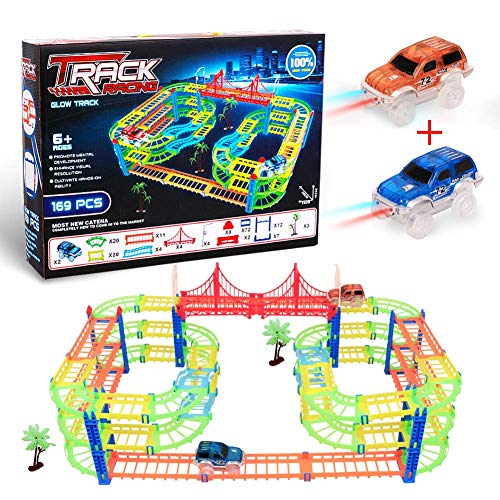 CUDNY Glow Race Tracks, LED Laser Tracks Twister 169 Pcs Tracks, Magic Glow in The Dark Track Toy Car Set Inovative Technology Routing Flexible Assembly Track Race Series +2 Light Up Race Car for Kids