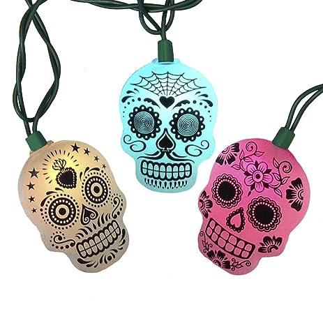 kurt adler ul 10 light led sugar skull color changing light set