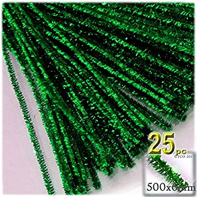 The Crafts Outlet Chenille Sparkly Stems, Pipe Cleaner, 20-in (50-cm), 25-pc, Emerald Green: Arts, Crafts & Sewing