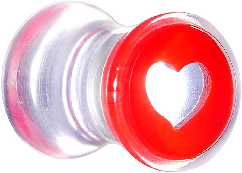 PAIR-Glass Heart Red Saddle Flare Ear Plugs 05mm//4 Gauge Body Jewelry