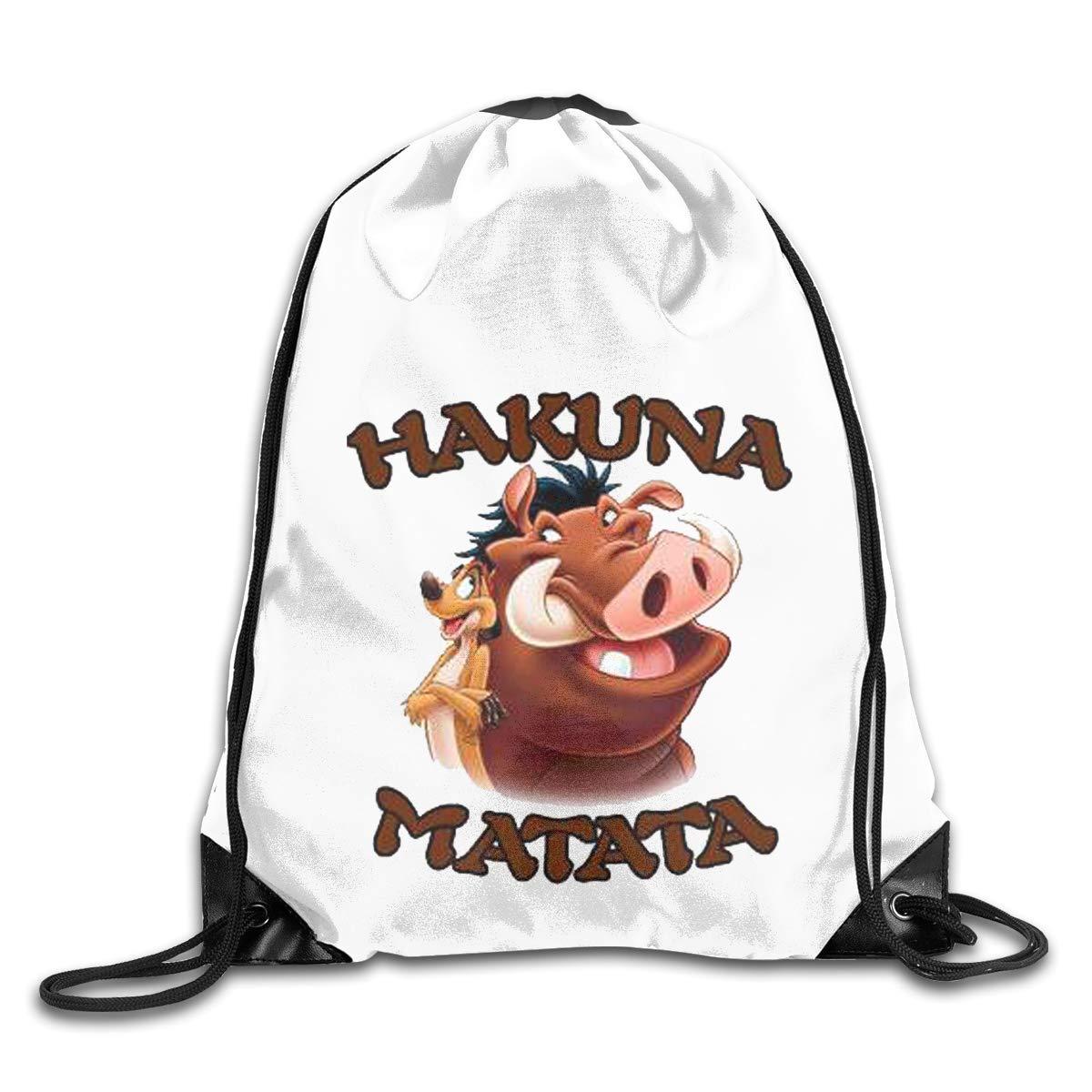 Lion King Hakuna Matata Drawstring Bags Eat Sleep Dance Repeat Beam Mouth Backpack Basketball Tennis Gympack