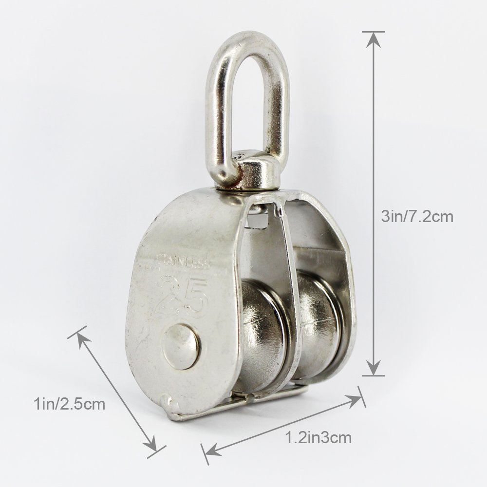 Cimostyle Pulley Block Double Pulley Rope Hoist Set 304 Stainless ...