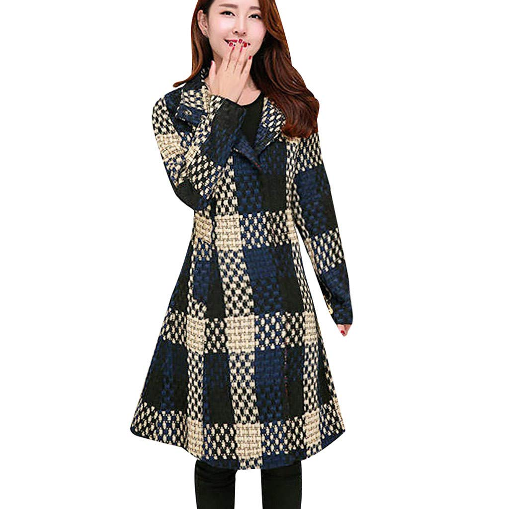 Yanvan Pea Coat Trench Coat for Women,Female Long Autumn and Winter New Slim Large Size Tartan Woolen Coat by Yanvan
