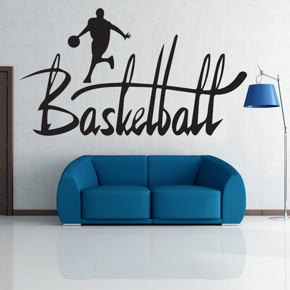 Home Decor Wall Stickers Basketball Quotes Removable Inspiration Sports Wall Decor Decals for Boys Kids Black 19.7 x 35.8 Inch