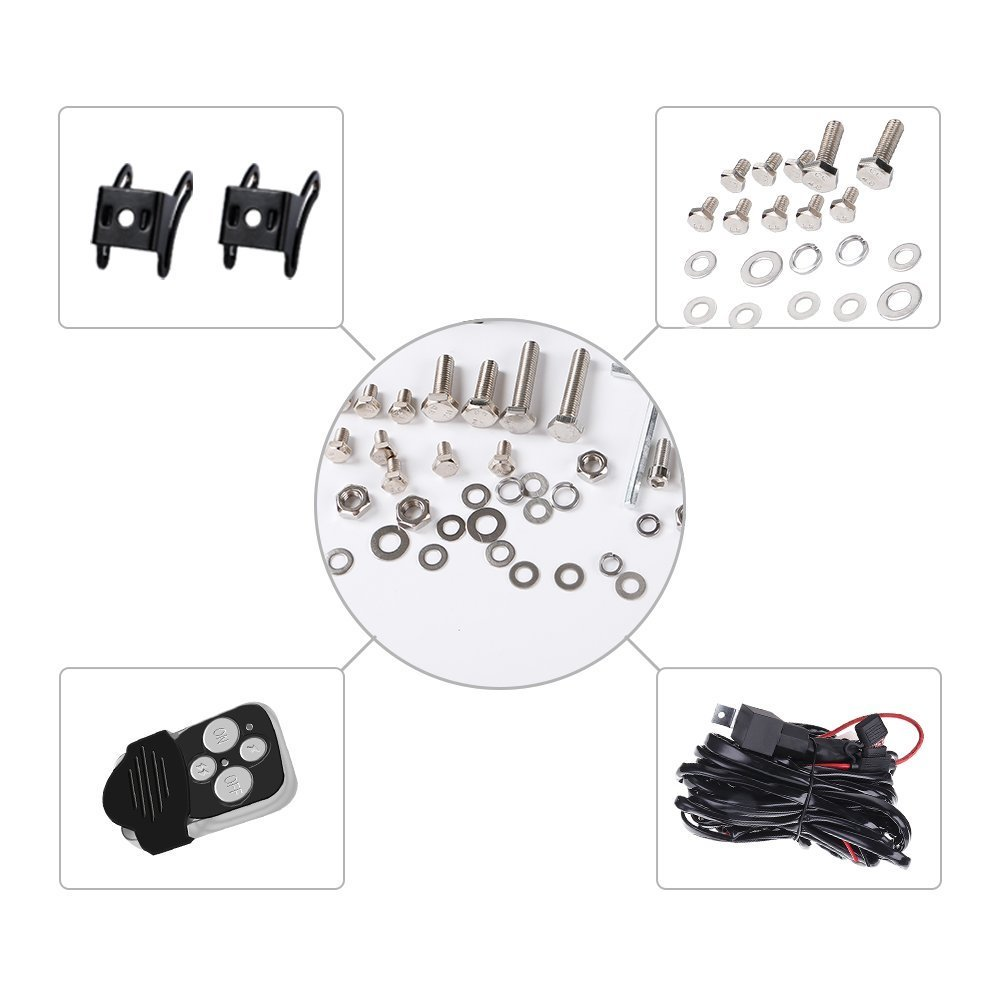 20inch 126w Led Work Light Bar Wiring Kit Offroad Truck Boat Jeep 20 Inch Wire Diagram Cree Ford Suv