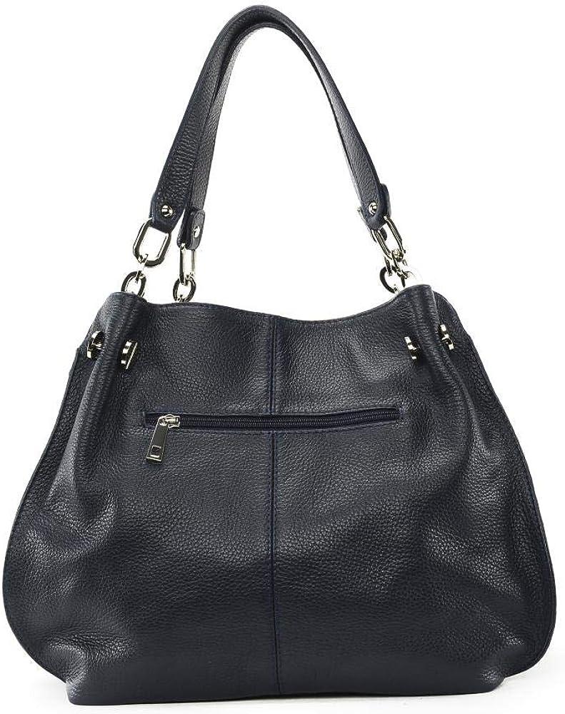 OH MY BAG Sac porté épaule Cuir porté épaule bandoulière de travers et main Femmes en véritable cuir fabriqué en Italie - modèle DENZEL - SOLDES Bleu Foncé