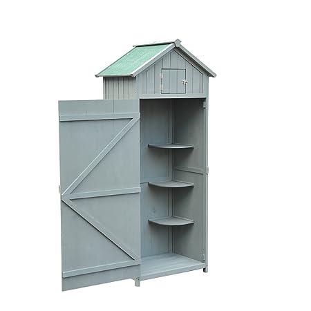 Outsunny Cobertizo de Madera para Jardín Tipo Caseta y Almacén para Herramientas de Jardinería 77x54,2x179cm (Gris): Amazon.es: Hogar