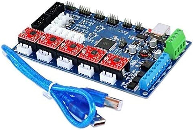 Auoeer Tablero de Control de Impresora 3D MKS Gen V1.2 + DRV8825 Módulo de Controlador de Motor Paso a Paso + Herramientas de Cable USB