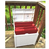 20 Gallon Deck Box Patio Wicker Storage White Furniture Seat Outdoor Indoor Garden Yard Resin Basket Container & eBook