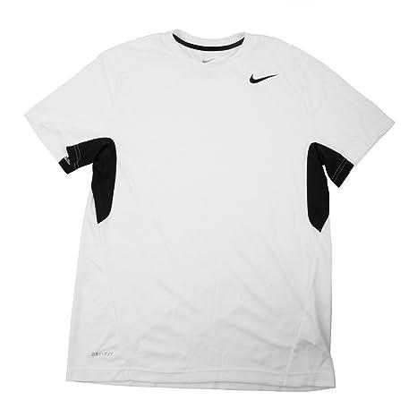 362cab9c Image Unavailable. Image not available for. Color: Nike Men's Vapor White/Black  Dri-Fit Tee Shirt - Medium