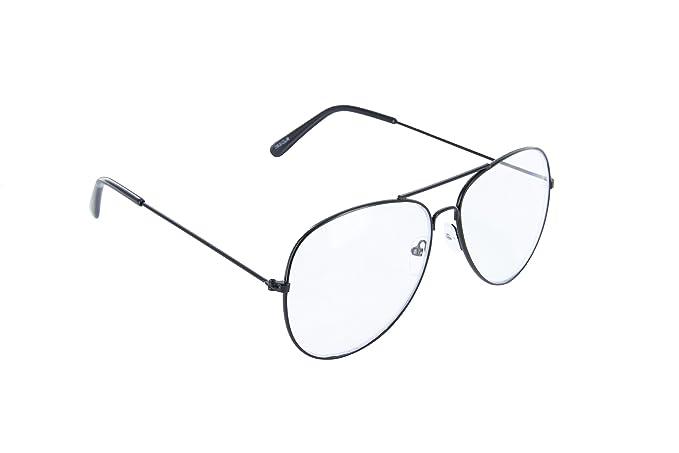 f5601b56a346 MJ Eyewear Classic Tear Drop Aviator Glasses Clear Lens Metal Frame (Black,  Clear)