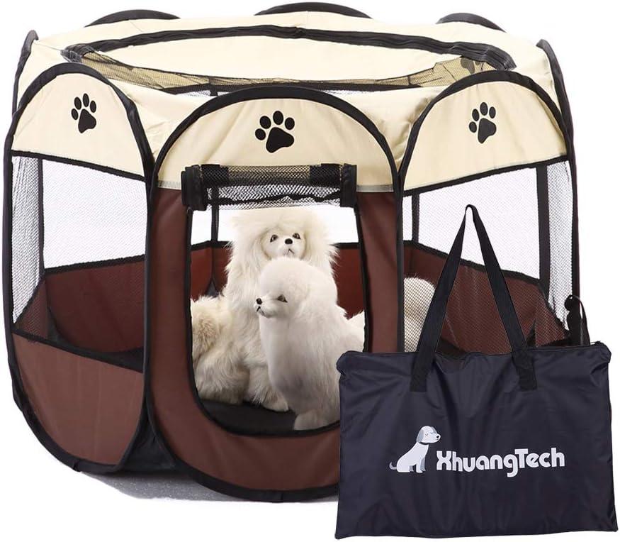 XianghuangTechnology Parque portátil plegable de tela suave para mascotas, perros, gatos, cachorros, uso interior y exterior, jaula para mascotas D31 x H23 (beige)