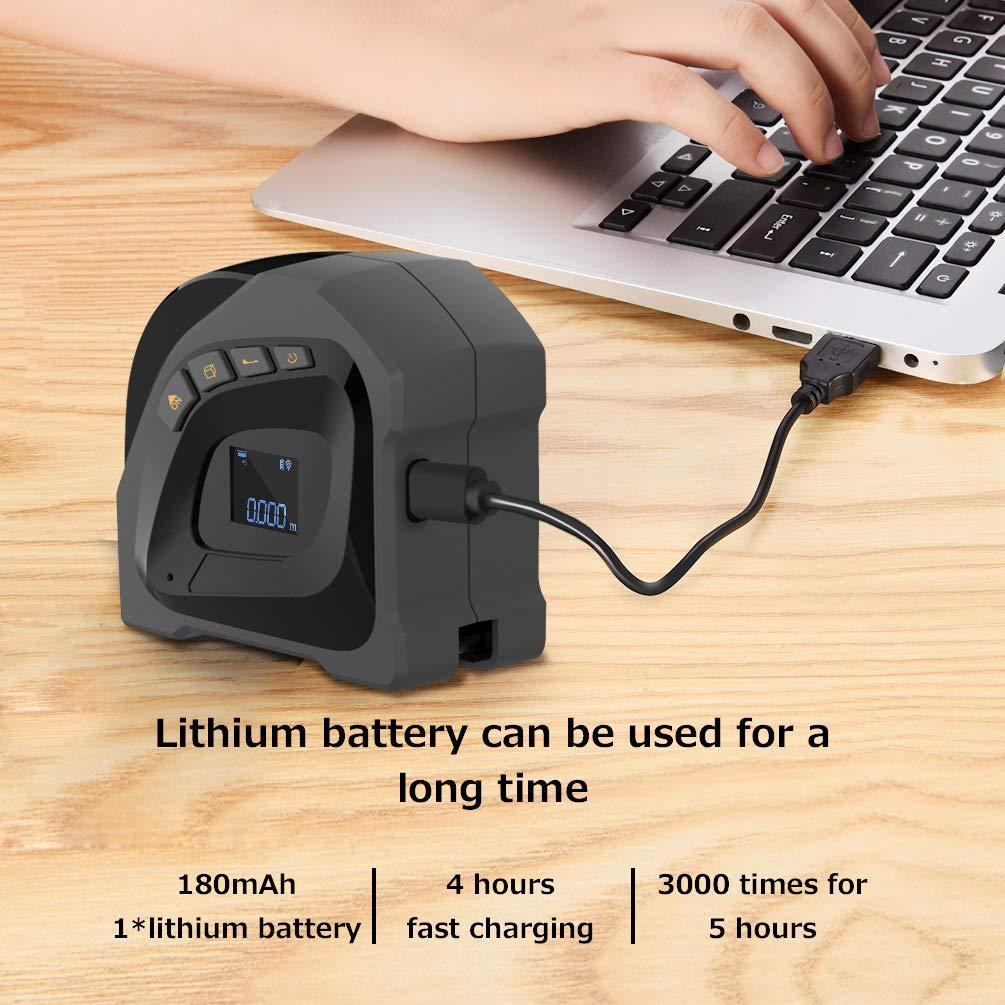 Uarter Telemetro Laser Medidor l/áser digital 40M,Cinta m/étrica 5M,Tel/émetro l/áser port/átil recargable USB con pantalla LCD