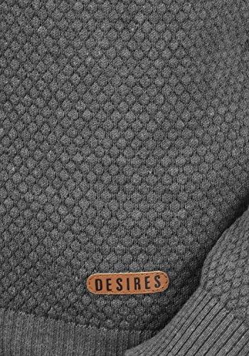 1ca41cef8e43 ... DESIRES Sarah Damen Strickpullover Feinstrick Pullover mit Rundhals und  Waffelstrick-Muster Med Grey Melange ...