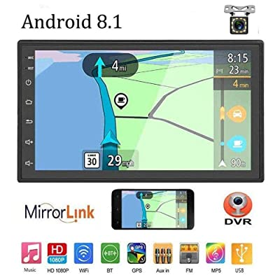 "Liehuzhekeji Android 8.1 Double Din Car Stereo Radio Receiver, 7"" HD 2.5D Screen Universal Multimedia Player, Support Mirror Link Built-in FM Bluetooth WiFi/GPS/Navigation/Aux-in/DVR: Car Electronics"
