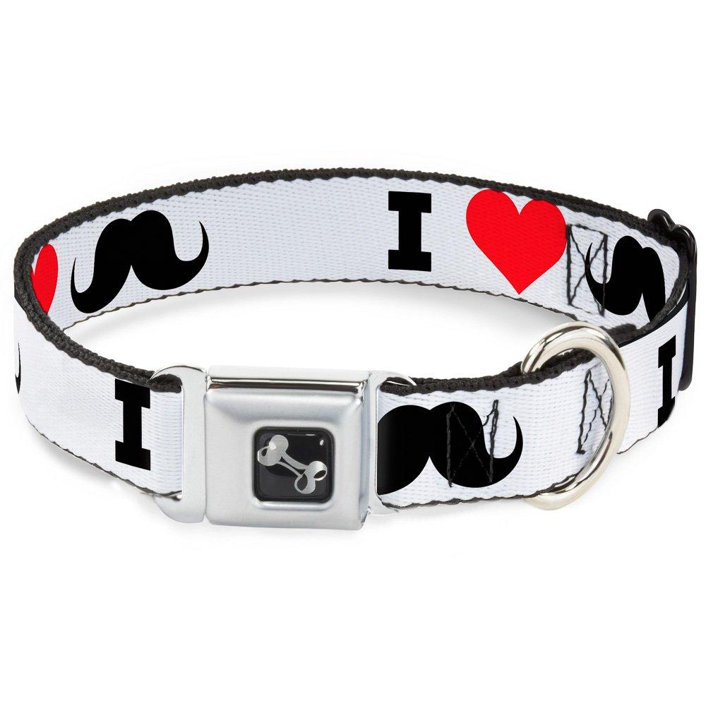 Buckle-Down I Heart Mustache  White Black Red Dog Collar Bone, Wide Medium 16-23