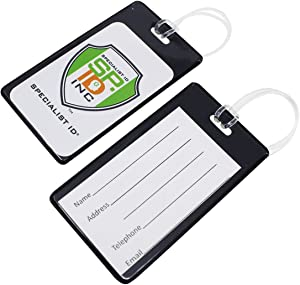 Specialist ID 5 Pack - Slim and Sturdy Flexible Backpack & Airline Luggage ID Bag Tags - Business Card Holders - with Secure Plastic Worm Loop Straps (Black)