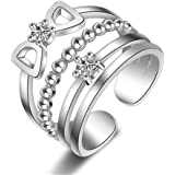 Wiftly Femme Bagues Bow doux Réglable anneaux multiples en Argent 925 et Zirconium Bagues de phalange