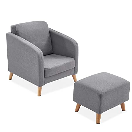 Super Paldin Fabric Linen Upholstered Armchair With Footstool Tub Accent Chair Cushion Sofa Armchair Stool For Living Dining Room Bedroom Lounge Office Inzonedesignstudio Interior Chair Design Inzonedesignstudiocom