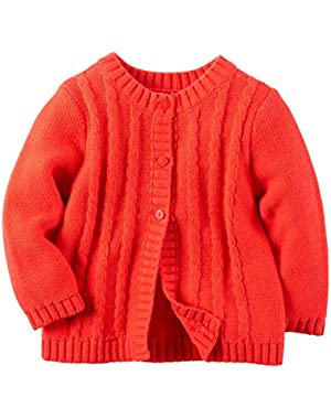 Baby Girl's Cable Knit Cardigan (18m, Red)