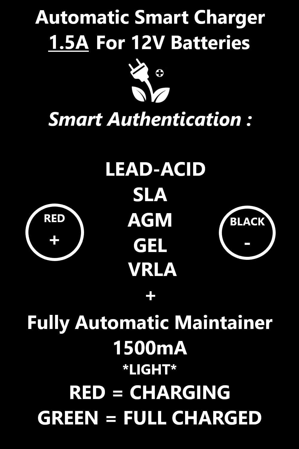 Boat Multi-Protections Lawn tractor 12V Charger Smart Automatic Battery Charger Maintainer 1.5A Trickle for Sealed Lead Acid SLA GEL AGM Car RV Truck 1500mA 3 Stage Charging Auto-Stop Charging Motorcycle Electric toys