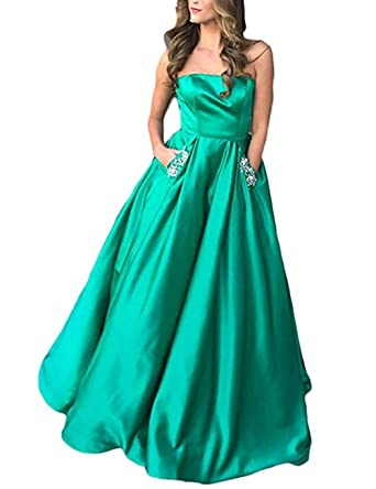 Libaosha Satin Strapless Formal Gowns Beaded Pockets Lace Up Back