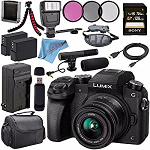 Panasonic Lumix DMC-G7 Mirrorless Camera with 14-42mm Lens (Black) DMC-G7KK + 46mm 3 Piece Filter Kit + DMW-BLC12…
