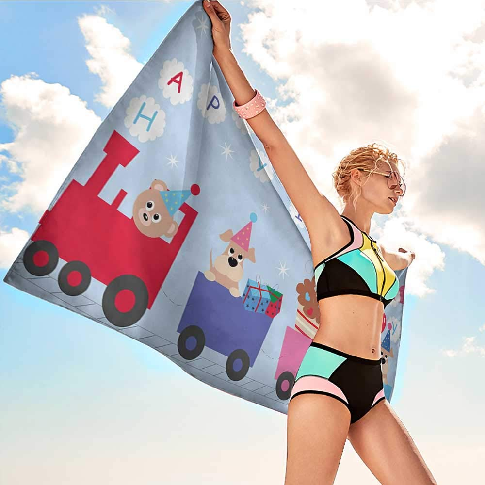 Onefzc Travel Bath Towel Kids Birthday Celebration Baby Bear Dog in Train Balloons Clouds on Pale Blue Backdrop Super Soft Highly Absorbent W35 x L12 Multicolor by Onefzc (Image #2)