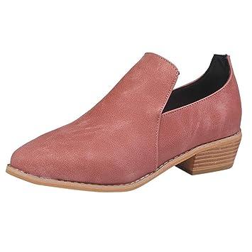 Fuxitoggo Zapatillas Mujer Mujer Botas de Interior Zapatillas, Moda Zapatos de Tobillo de Cuero Roman Martin Botas Cortas Bootie, (Color : Rosado, ...