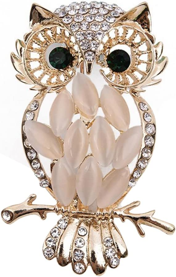 Milopon Broche Femme Forme de Hibou avec Strass Creux Vintage Bijoux pour Femme Cadeau Anniversaire V/êtement D/écoration