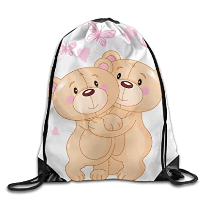 a12b545ffd Image Unavailable. Image not available for. Color  Yifui Teddy Bear Flower  Butterfly Drawstring Bag For Traveling Or Shopping Casual Daypacks School  Bags
