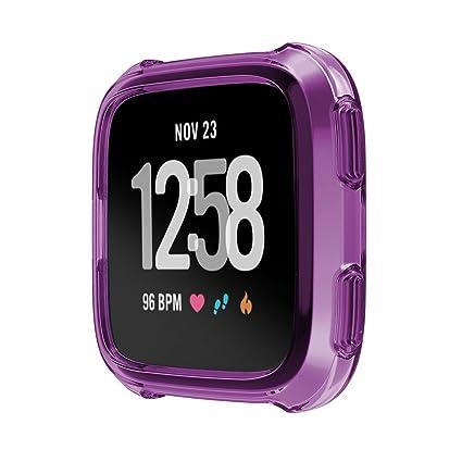 qiaoW Funda protectora de silicona suave de 5 colores para Fitbit Versa Actividad Reloj inteligente Accesorios