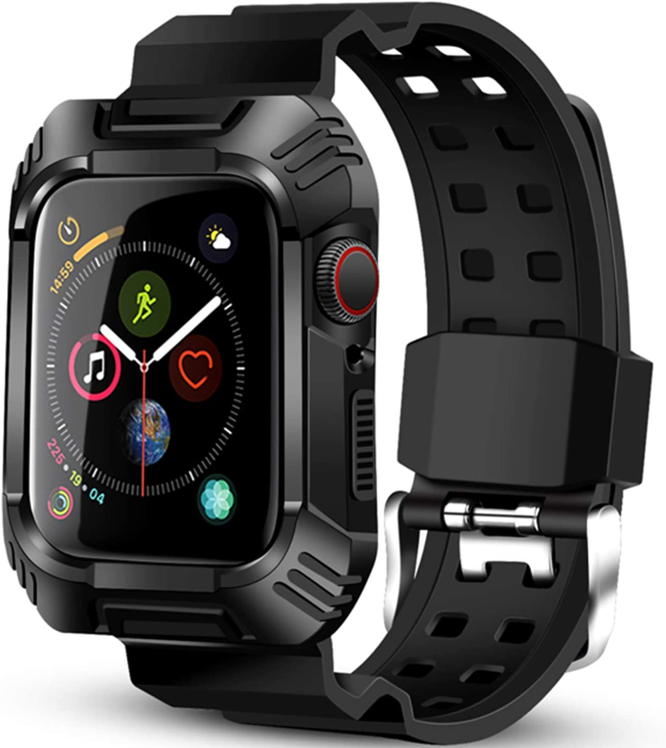 BeeFly Compatible with Apple Watch Band 40mm Men,Case for 40mm Apple Watch Series 6 / 5/4 Protective Armor Rugged Case with Band for 40 mm Apple Watch Series 6 /Series 5/Series 4 for Sport (Black)