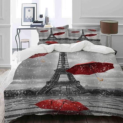 Reversible Paris Quilt Set Europe France Landmark Eiffel Tower Vintage Set 5-Pc
