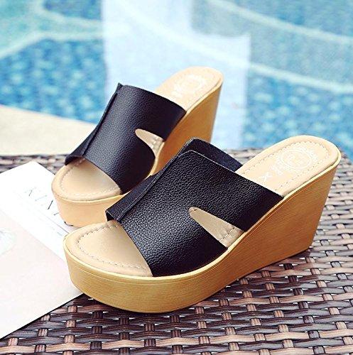 CN36 Black Damen High Heel Schuhe Ferse Strand Casual Hausschuhe Komfort Dick LvYuan Sommer Plattform Sandalen Wasserdichte Boden Fashion Wedge UCTqxwdO