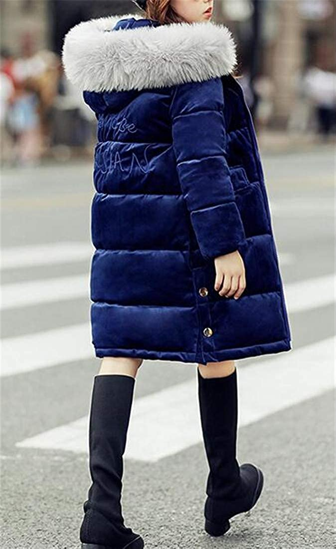 Hajotrawa Girls Thick Coat Cotton-Padded Cute Quilted Parkas Coats