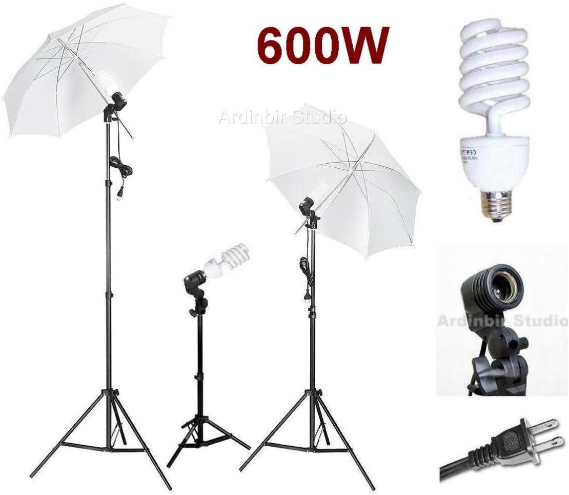 Socket and Stand Ardinbir Studio 600W Photo White Translucent Umbrella kit with Continuous Light