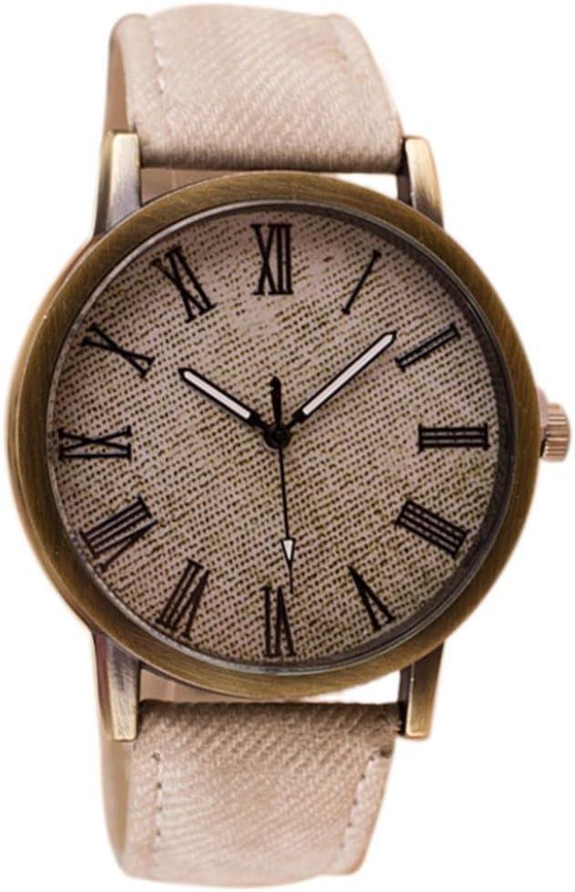 Toamen Unisexo Reloj De Pulsera Retro De Vaquero Reloj De Pulsera De Cuarzo AnalóGico De Cuero De Vaquero