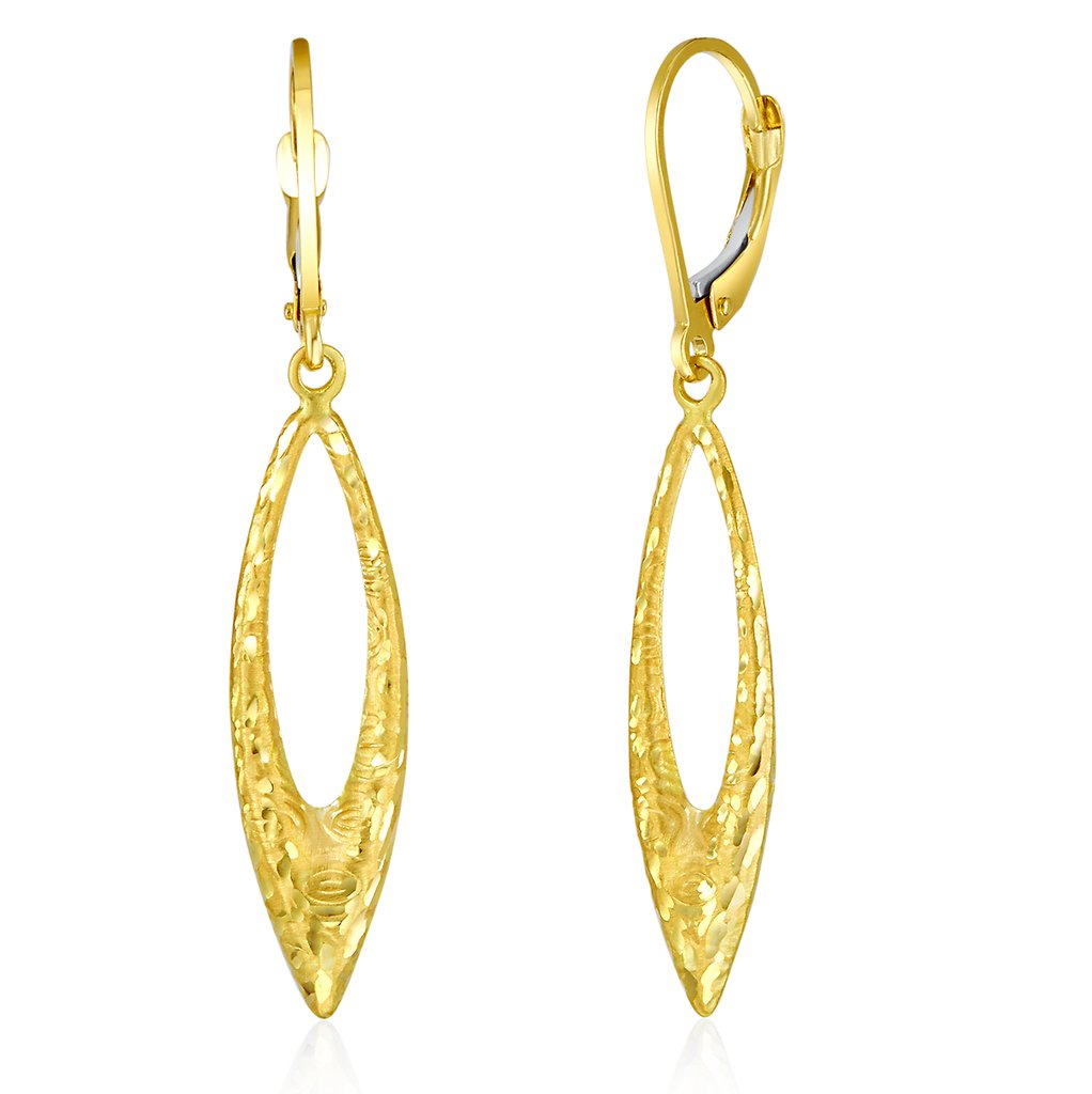 Wellingsale Ladies 14k Yellow Gold Diamond Cut Polished Dangle Hanging Drop Earrings (45 x 8 mm)
