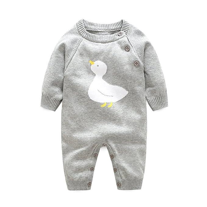Bebé niños niñas Mameluco de Punto Pato Impresión Invierno ...