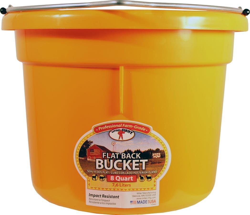 MILLER 957831 Little Giant Plastic Flat Back Bucket Orange, 8 Qt