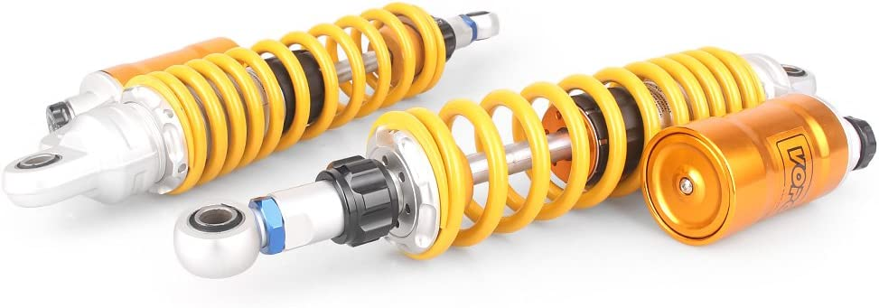 Slikeparts Pair 360mm Motorcycle Shocks Absorber Eye to Eye Rear Suspension Universal Fit for CB1000 CB1300 XJR1200 XJR1300 ZRX1100 ZRX1200 GSX1400 Street Bikes Scooters Quad Yellow